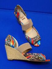 8 M Impo Stretch Ladies Womens Shoes Espedrilles Wedge Heel Sandals Blue Red 8M
