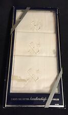 Handrolled Handkerchief White Embroidered With E Vintage Cotton Set Of 3 In Box