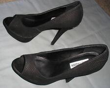 Steve Madden ALIAS Black Taupe Multi Open Peep Toe Heels Pumps Size 8.5B - RARE!