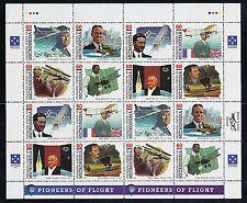 Micronesia 1996 Scott #249  Pioneers of Flight sheet of 16  Unfolded NH
