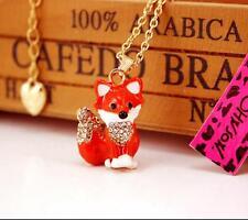 Charm Penddant Betsey Johnson Fashion Jewelry fox Gold Chain Rhinestone Necklace