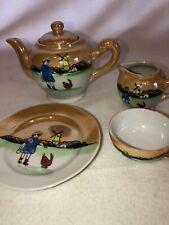 Vintage 5 Piece Lot Childs Tea Cup Set Japan Lusterware Girl Chicken & Windmill
