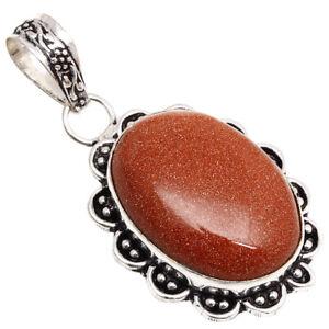 "Red Sunsitara Gemstone Handmade Mother's Day 925 Silver Jewelry Pendant 1.75"""