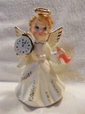 "Vintage Japan Ceramic Large January Birthday Girl Angel Figurine 5 1/8"""
