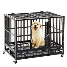 "48"" Dog Cage Heavy Duty Black Dog Crate Kennel Run Metal Pet with Wheels &Tray"