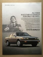"""1989 TOYOTA CAMRY V6 """"ALL YOUR INVESTMENTS..."""" Original Print Ad, 8.25""""x11"""""""
