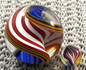 "WALD 2010 Matching FLAG RIBBON CORE SWIRL MARBLES Lutz 1 1/8"" BIG + 13/32"" BABY"
