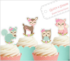 woodland animals EDIBLE cupcake toppers baby shower mint coral 1st birthday