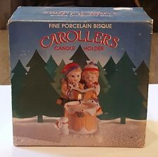 1982 Wa Fine Porcelain Bisque Candle Holder Christmas Carollers Iob