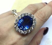 20Ct Oval Cut Blue Sapphire Simulated Diamond Cocktail Ring Silver in Gold Finsh