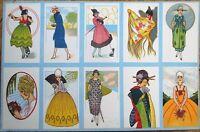 Art Deco, Ten Uncut 1920 Cigarette/Trade Cards w/Women - Color Litho