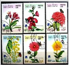 BUTTERFLIES: 1988 - LAOS -FINE STAMPS- INSECTS - FLOWERS - PLANTS -USED