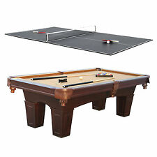 Barrington 8' Square Leg Billiard Pool Table & Table Tennis Top w/ Accessories