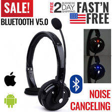 Bluetooth Headset, Over the Head Headphone Noise Cancelling Bluetooth Boom Mic