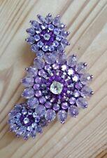 3 Damen Modeschmuck Anstecknadeln Broschen Pins Perlenbroschen lila