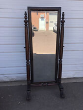 New listing Antique Mahogony Full Length Cheval Dressing Mirror With Hairy Paw Feet