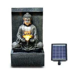Solar Outdoor Water Feature LED Polyresin Statues Home Decoration Stone Buddha