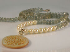 """Moss Aquamarine Golden Akoya Carved South Sea Pearl Shell Necklace 16.5"""" 14k"""