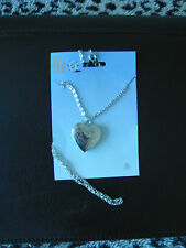 New- Heart Shaped Locket on Chain Link Necklace -Silver Tone color-Opens