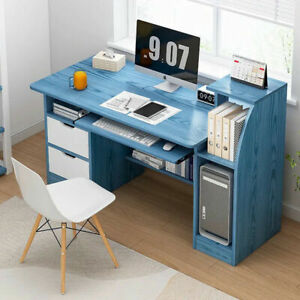 113cm Computer Desk Laptop PC Table Storage Doors Kids Student Office Worksation
