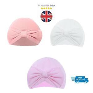 Newborn Baby Infant TURBAN Hat Beanie Girls Kids Toddler Pink White Rose COTTON