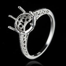 Solitaire Semi Mount 8.5-9mm Round Engrave Vintage Wedding Ring 10K White Gold
