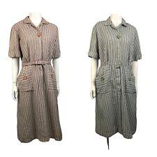 1950s Dress Lot / 50s Blue & Red Stripe Dress 2 Frock Dresses / Large