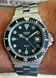 Vintage YEMA Paris Diver Diving Watch Stainless Steel Explorer Submariner Hands