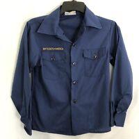 BSA Boy Scouts Of America Size YOUTH 12 Uniform Shirt Long Sleeve Blue Cub