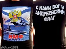 """T-shirt """"VMF of Russia"""" with Russian Navy symbols - color prints on black Cotton"""