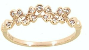 Solid Real Natural Diamond 14K Rose Gold 0.06CT Fancy Floral Ring Fine Jewelry