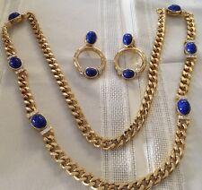 Long Necklace Chain & Earrings Clip On Dangle Gold Tone Rhinestone Blue Stone *