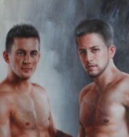 """Fine art male nudes original oil painting on canvas two mens signed 24""""x36"""""""
