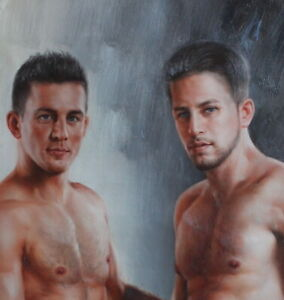 "Fine art male nudes original oil painting on canvas two mens signed 24""x36"""