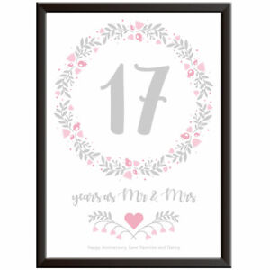 PERSONALISED 17th Wedding Anniversary Print Floral Gift Present Picture Wall Art