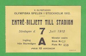 1912 Olympics Stockholm ticket July 7th - Jim Thorpe classic pentathlon gold
