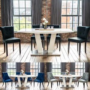 Alula Luxury White Gloss Dining Table and Chairs Set with a Choice of 4 Chairs