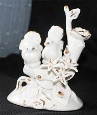 """Vintage Capodimonte White Gold Porcelain 2 DOVES NEST 6""""h Figurine Made in Italy"""