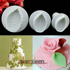 3Pcs Leaf Shape Cookie Plunger Cutter Fondant Sugarcraft Mold Cake DIY Tools Kit