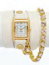 LA MER Eggshell w/ Silk Chandelier Crystal Chain Wrap Watch