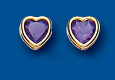 Unique Wishlist 9ct Yellow Gold Amethyst Heart Rim Set Studs AP6827