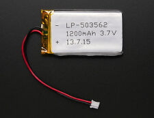 Adafruit Lithium Ion Polymer 3.7v Rechargeable Battery 1200mAh Lipo Arduino