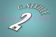Manchester United G.Neville #2 PREMIER LEAGUE 97-06 White Name/Number Set