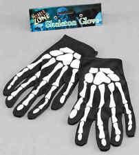 Skeleton Bone Print Black and White Gloves Halloween Fancy Dress Costume