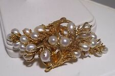 Amazing 14k Solid Gold Pearl Brooch Nugget Pin Branch Leaves Estate Handmade