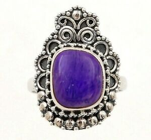 Natural Siberian Charoite 925 Solid Sterling Silver Ring Jewelry Sz 6, ED28-7