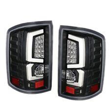 Fit 14-17 GMC Sierra 1500 2500HD White Streak Led Tail Lights Black/Clear Lens