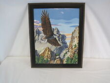 "Framed Paint By Numbers ""Eagle Over Rushmore"" 19.5"" Length 23.6"" Tall (OAR61-100"