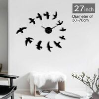Wall Clock Sticker Frameless Fly Bird Designed Watch Living Room Home Decoration