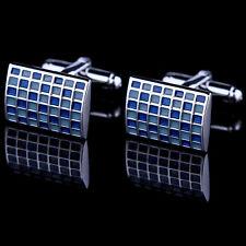 Shirt Cufflinks For Mens Brand Cuff Button De Manchette Blue Plaid Cuff Link